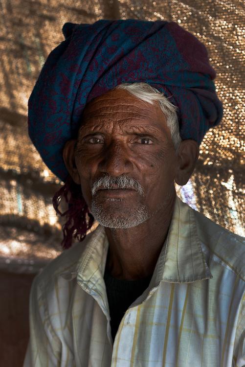 Portrait of a farm worker near Pali, Rajasthan
