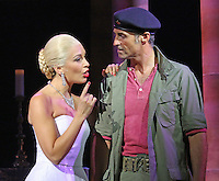 Marti Pellow as Che, Madalena Alberto as Eva, Ben Forster as Magaldi and Matthew Cammelle as Peron, Evita - photocall, Tim Rice and Andrew Lloyd Webber's EVITA returns to london's West End, Dominion Theatre, London UK, 18 September 2014, Photo by Richard Goldschmidt