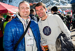 Journalist Rok Plestenjak and Saso Udovic, ex-football player during Ski Flying Hill Team Competition at Day 3 of FIS Ski Jumping World Cup Final 2016, on March 19, 2016 in Planica, Slovenia. Photo by Vid Ponikvar / Sportida