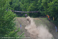 Racing up the hill at the Gunstock Hillclimbs during Laconia Motorcycle Week. NH. USA. Wednesday June 13, 2018. Photography ©2018 Michael Lichter.