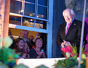 President Elect Michael D Higgins with crowd at window of  Hotel Meyrick in Galway  before his well received speach . Photo:Andrew Downes