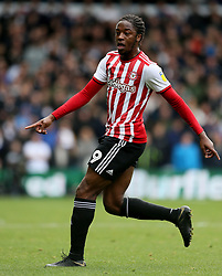 """Brentford's Romaine Sawyers during the Sky Bet Championship match at Elland Road, Leeds. PRESS ASSOCIATION Photo. Picture date: Saturday October 6, 2018. See PA story SOCCER Leeds. Photo credit should read: Richard Sellers/PA Wire. RESTRICTIONS: EDITORIAL USE ONLY No use with unauthorised audio, video, data, fixture lists, club/league logos or """"live"""" services. Online in-match use limited to 120 images, no video emulation. No use in betting, games or single club/league/player publications."""