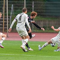 07.10.2020, wohninvest Weserstadion Platz 11, Bremen, GER, FSP SV WERDER BREMEN  vs 1. FC St. Pauli<br /> <br /> im Bild / picture shows <br /> <br /> 2:0 Joshua Sargent (Werder Bremen #19) Christian Stark  (FC ST.PAULI #38)<br /> PHILIPP ZIEREIS (FC ST.PAULI #04)<br /> <br /> <br /> Foto © nordphoto / Kokenge