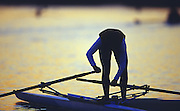 Sydney. AUSTRALIA. 2000 Summer Olympic Regatta, Penrith. NSW.  <br /> <br /> Singlr Sculler prepare to boat at Sunrise at the  Sydney International Regatta Centre (SIRC), as crews boat to start there training sessions.<br /> <br /> [Mandatory Credit Peter SPURRIER/ Intersport Images] Sydney International Regatta Centre (SIRC) 2000 Olympic Rowing Regatta00085138.tif