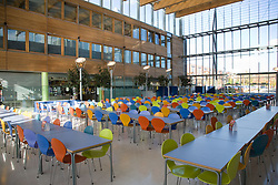 The dining hall in the Jubilee University Campus; a new modern design building in the city of Nottingham,