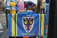 A combination of AFC Wimbledon and Fulham football fans setting up food collection points outside supermarkets to support the Covid-19 efforts, Kingston, England on 11 April 2020.