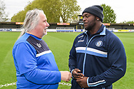 Wycombe Wanderers Forward Adebayo Akinfenwa (20) ahead of the EFL Sky Bet League 1 match between AFC Wimbledon and Wycombe Wanderers at the Cherry Red Records Stadium, Kingston, England on 27 April 2019.