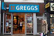Sign and shop front for the food and bakery brand Greggs on 14th January 2020 in London, England, United Kingdom.
