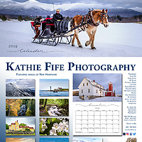 2019 New Hampshire Calendar by Kathie Fife Photography<br /> $35 each + $10 SH for two - add $5 per additional calendar<br /> By check or cash only<br /> Kathie Fife Photography<br /> PO Box 127 <br /> Canterbury NH 03224<br /> <br /> 11x14 on Artist Matte Heavy Stock<br /> Acid and Archival perfect for framing images<br /> 12 images from the Great North Woods to the Seacoast<br /> Jan - Sleigh Ride at the Mt Washington Hotel<br /> Feb - View from Mt Willard<br /> March - Mt Washington Sunrise<br /> April - Wentworth Coolidge Mansion<br /> May - Honey Bee on Apple Blossom<br /> June - Stone Arch Bridge <br /> July - Seagull with two chicks<br /> Aug - Portsmouth Harbor Lighthouse<br /> Sept - Mt Washington Sunrise<br /> Oct -  Beaver Brook Falls<br /> Nov - Pioneer Farm<br /> Dec - Canterbury Shaker Village
