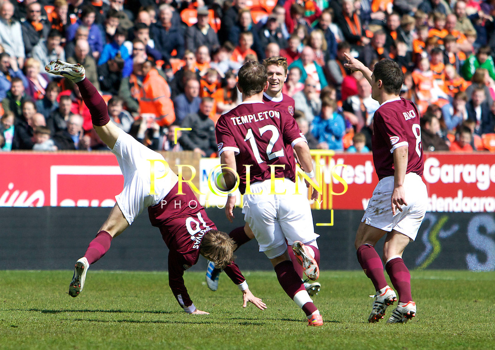 SPL Dundee United FC v  Hearts FC Scottish Premier League Season 2011-12.28-04-12...Arvydas Novikovas  of Hearts celebrates after his screamer makes it 2-2     during the Scottish premier League clash between Euro spot chasing Dundee United FC and Heart of Midlothian FC...At Tannadice Stadium, Dundee..Saturday 28th April 2012.Picture Mark Davison/ Prolens Photo Agency / PLPA