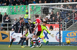 Falkirk's keeper Danny Rogers can't stop Raith's first goal. Falkirk v Raith Rovers. Scottish Championship game played 22/10/2016 at The Falkirk Stadium.