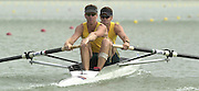 2002 World Rowing Championships - Seville - SPAIN. 16/09/2002, AUS M2- Bow Drew Ginn (right) and James Tomkins, row away from he start pontoon in their event heat, at the World Rowing Championships. [Mandatory Credit: Peter SPURRIER/Intersport Images]<br /> <br /> 20020921 World Rowing Championships Seville, SPAIN