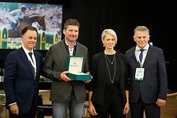 Joël Aeschlimann, Glötz Mirko, Mrs Glötz, Pedersen Jan<br /> WBFSH Prize Giving<br /> CHI de Genève 2017<br /> © Hippo Foto - Dirk Caremans<br /> 09/12/2017