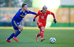ZENICA, BOSNIA AND HERZEGOVINA - Tuesday, November 28, 2017: Wales' Jessica Fishlock and Bosnia and Herzegovina's Antonela Radeljić during the FIFA Women's World Cup 2019 Qualifying Round Group 1 match between Bosnia and Herzegovina and Wales at the FF BH Football Training Centre. (Pic by David Rawcliffe/Propaganda)