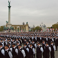 Members of the Hungarian Guard (Magyar Garda) take an oath during the inauguration ceremony on Heroes Square.