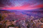 A dramatic fall sunrise lights up the sky over the Colorado River and the Grand Canyon in this view from Moran Point.