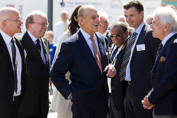 © Licensed to London News Pictures. 05/06/2013. London, UK. Prince Philip, Duke of Edinburgh is seen talking to local dignitaries as he visits the SS Robin steamship, a ship in which he was instrumental in saving, at the Royal Victoria Dock in East London today (05/06/2013). The royal visit marks the the beginning of the last round of renovation work to the lottery supported SS Robin which is the world's oldest steamship and last of her kind. Photo credit: Matt Cetti-Roberts/LNP
