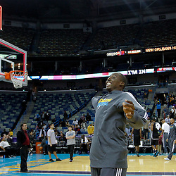 December 17, 2011; New Orleans, LA, USA; New Orleans Hornets forward Al-Farouq Aminu throws a t-shirt into the stands following a team scrimmage at the New Orleans Arena.   Mandatory Credit: Derick E. Hingle-US PRESSWIRE
