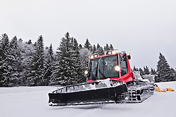 Preparing ski track with machine in the black forest, Feldberg, Baden-Wuerttemberg, Germany