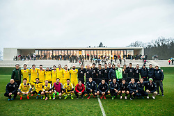 Tennis players posing for a group photo after the friendly football match between NK Fantazisti (SLO) and 1st TFC - First Tennis & Football Club (AUT) presented by professional and former tennis players, on November 25, 2017 in Nacionalni nogometni center Brdo pri Kranju, Slovenia. Photo by Vid Ponikvar / Sportida
