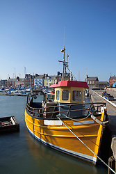 Fishing boats harbour Arbroath Scotland colourful