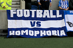 15 October 2017 -  Premier League - Brighton and Hove Albion v Everton - A banner reading Football vs Homophobia draped over the barriers at Amex Stadium - Photo: Marc Atkins/Offside