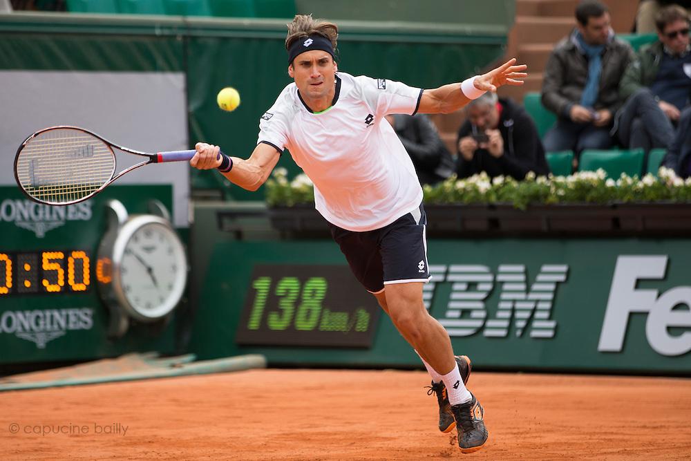 Paris, France. Roland Garros. May 26th 2013.<br /> Spanish player David FERRER against Marinko MATOSEVIC