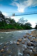 Costa Rica, La Virgen de Sarapiqui, Sarapiqui River, White Water Rafting, Suspension Bridge, Tirimbina Biological Reserve, Guide With Tourists, Rainforest