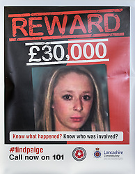 © Licensed to London News Pictures . FILE PICTUDE DATED 15/04/2014 of poster offering a £30,000 reward for information leading to the conviction of Paige Chivers' killer , as today ( 10th July 2015 ) at Preston Crown Court , Robert Ewing ( 60 of Kincraig Place, Blackpool ) has been convicted of Chivers' murder and Gareth Dewhurst ( 46 of Duncan Avenue, Blackpool ) convicted of disposing of her body . Paige Chivers went missing in August 2007 . Her body has never been recovered . Photo credit : Joel Goodman/LNP
