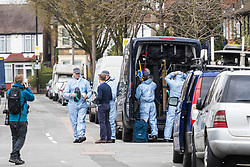 Forensics investigators at the scene in Chalgrove Road, Tottenham, North London, where a seventeen year-old girl was shot dead on the evening of April 2nd. London, April 03 2018.