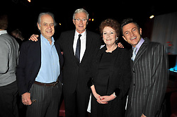 "Left to right, JOHN STANDING, PAUL O'GRADY, LADY ELIZABETH ANSON and JEFF HARNAR at a party to promote the ""American Songbook in London"" aseries of intimate concerts featuring 1959 Broadway songs, held at Pizza on The Park, Hyde Park Corner, London on 18th March 2009."