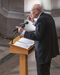 Former United States Senator Alan Simpson (Republican of Wyoming) delivers a tribute at the National funeral service in honor of the late former US President George H.W. Bush at the Washington National Cathedral in Washington, DC on Wednesday, December 5, 2018.<br /> Photo by Ron Sachs / CNP/ABACAPRESS.COM