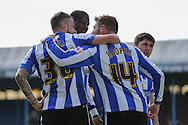 Sheffield Wednesday striker Gary Hooper (14) celebrates his opening goal during the Sky Bet Championship match between Sheffield Wednesday and Cardiff City at Hillsborough, Sheffield, England on 30 April 2016. Photo by Phil Duncan.