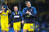 AFC Wimbledon attacker Marcus Forss (15) with match ball after scoring hattrick during the EFL Sky Bet League 1 match between Southend United and AFC Wimbledon at Roots Hall, Southend, England on 12 October 2019.