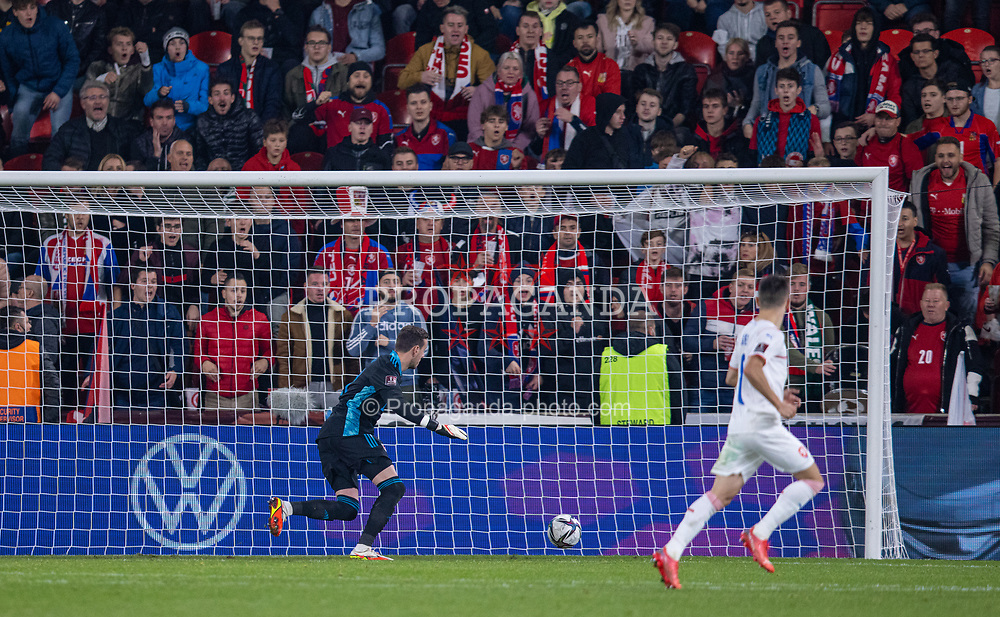 PRAGUE, CZECH REPUBLIC - Friday, October 8, 2021: Wales' goalkeeper Daniel Ward scores an own goal to put Czech Republic 2-1 in front during the FIFA World Cup Qatar 2022 Qualifying Group E match between Czech Republic and Wales at the Sinobo Stadium. The game ended in a 2-2 draw. (Pic by David Rawcliffe/Propaganda)