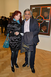 NATHALIE HAMBRO and BALDASSARE LA RIZZA at the opening private view of 'A Strong Sweet Smell of Incense - A portrait of Robert Fraser, held at the Pace Gallery, Burlington Gardens, London on 5th February 2015.