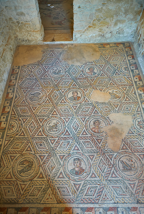 Wide picture of the Roman mosaics of The Four Seasons, room no 23 at the Villa Romana del Casale, first quarter of the 4th century AD. Sicily, Italy. A UNESCO World Heritage Site. .<br /> <br /> If you prefer to buy from our ALAMY PHOTO LIBRARY  Collection visit : https://www.alamy.com/portfolio/paul-williams-funkystock/villaromanadelcasale.html<br /> Visit our  ROMAN MOSAICS  PHOTO COLLECTIONS for more photos to buy as buy as wall art prints https://funkystock.photoshelter.com/gallery/Roman-Mosaics-Roman-Mosaic-Pictures-Photos-and-Images-Fotos/G00008dLtP71H_yc/C0000q_tZnliJD08