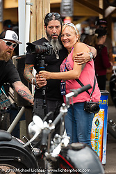 Xavier Muriel and Melissa Shoemaker at the ron Horse Saloon during the 78th annual Sturgis Motorcycle Rally. Sturgis, SD. USA. Sunday August 5, 2018. Photography ©2018 Michael Lichter.