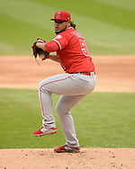 CHICAGO - SEPTEMBER 08:  Jamie Barria #51 of the Los Angeles Angels pitches against the Chicago White Sox on September 8, 2019 at Guaranteed Rate Field in Chicago, Illinois.  (Photo by Ron Vesely)  Subject:   Jamie Barria