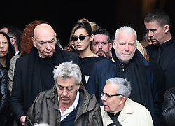 Jean Nouvel, Bella Hadid leaving the funeral service for late photographer Peter Lindbergh held at Saint Sulpice church in Paris, France on September 24, 2019. Photo by ABACAPRESS.COM