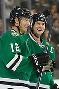 DALLAS, TX - SEPTEMBER 26:  Alex Chiasson #12 of the Dallas Stars celebrates after scoring a goal in the third period against the Colorado Avalanche in an NHL preseason game on September 26, 2013 at the American Airlines Center in Dallas, Texas.  (Photo by Cooper Neill/Getty Images) *** Local Caption *** Alex Chiasson
