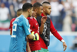 (l-r) goalkeeper Monir El Kajoui of Morocco, Aziz Bouhaddouz of Morocco, Youssef En Nesyri of Morocco