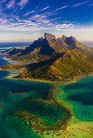 Aerial view of Bora Bora, French Polynesia.