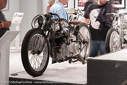"""Cristian Sosa's 1940 Indian Scout (45 ci) in Michael Lichter's Motorcycles as Art annual exhibition titled """"The Naked Truth"""" at the Buffalo Chip Gallery during the 75th Annual Sturgis Black Hills Motorcycle Rally.  SD, USA.  August 4, 2015.  Photography ©2015 Michael Lichter."""