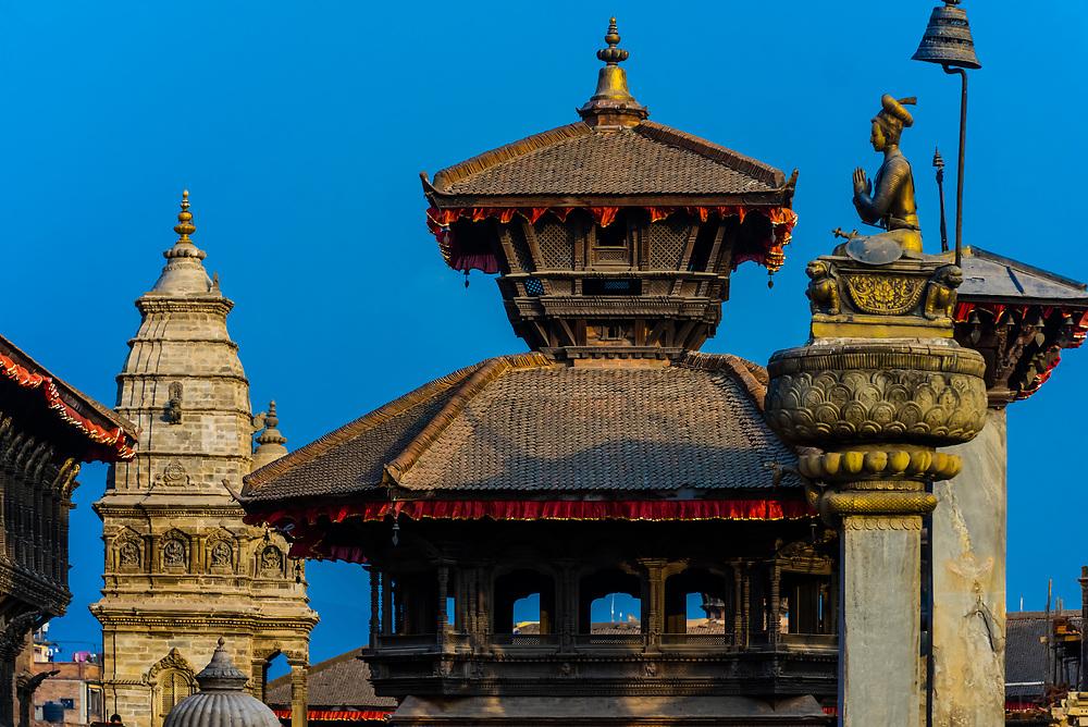 The statue of King Bhupatindra Malla, Durbar Square, Bhaktapur, Kathmandu Valley, Nepal.