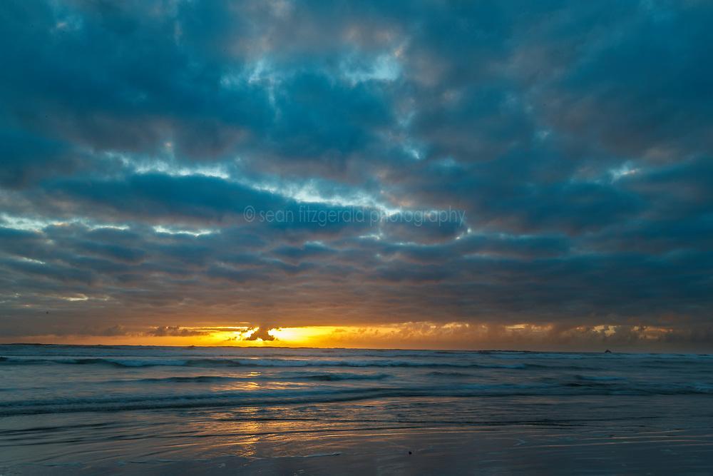 Sunrise on Cannon Beach. Ecola State Park, Oregon, USA.