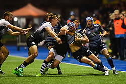 Blaine Scully of Cardiff Blues is tackled by Giulio Bisegni of Zebre Rugby Club - Mandatory by-line: Craig Thomas/JMP - 04/11/2017 - RUGBY - BT Sport Cardiff Arms Park - Cardiff, Wales - Cardiff Blues v Zebre Rugby Club - Guinness Pro 14