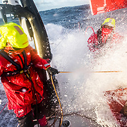 Leg 7 from Auckland to Itajai, day 09 on board MAPFRE, Xabi Fernandez and Blair Tuke fighting against southern ocean waves, 26 March, 2018.