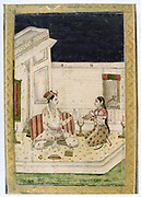 Album of Ragamala. Dipaka (light) Raga:  On a terrace lit by torches, a lover listens to music played by his love.  19th century Indian miniature, Rajasthan School with Mughul influence.