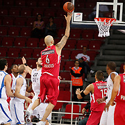 Olympiacos's Pero ANTIC (C) during their Two Nations Cup basketball match Anadolu Efes between Olympiacos at Abdi Ipekci Arena in Istanbul Turkey on Sunday 02 October 2011. Photo by TURKPIX